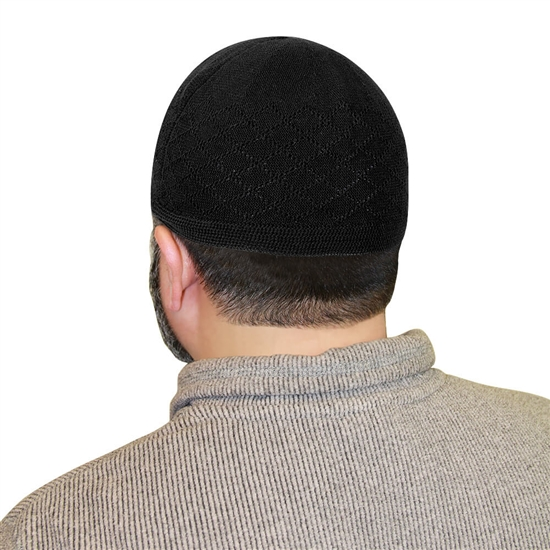 Black One Size Fits Most Traditional Plain Knitted Muslim Mens Prayer Kufi Hat