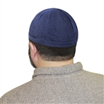 Navy Blue One Size Fits Most Traditional Plain Knitted Muslim Mens Prayer Kufi Hat
