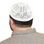 One Size White Knitted Muslim Prayer Kufi Hat with Hexagon Pattern