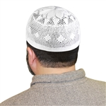 One Size White Knitted Muslim Prayer Kufi Hat with Flower Top Pattern