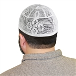 One Size White Knitted Muslim Prayer Kufi Hat with Trapezoid Pattern