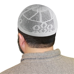 One Size White Knitted Muslim Prayer Kufi Hat with Rhombus Pattern
