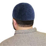 Navy Blue One Size Fits Most Velvet Cotton Stretchable Plain Kufi Hat Prayer Cap