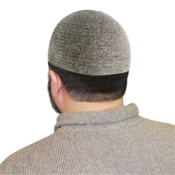 Gray One Size Fits Most Velvet Cotton Stretchable Plain Kufi Hat Prayer Cap