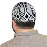 White Stretchable One Size Fits Most Kufi Hat with Black Diamond Pattern