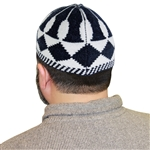 White and Black One Size Fits Most Muslim Kufi Prayer Hat with Diamond Pattern
