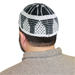 White and Gray One Size Stretchable Kufi Hat with Archway and Dots Design