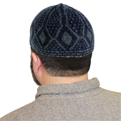 Navy Blue Stretchable One Size Fits Most Kufi Hat with Gray Diamond Pattern