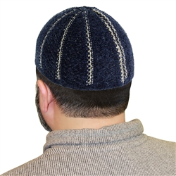 Navy Blue Stretchable One Size Fits Most Kufi Hat with Tan Seams