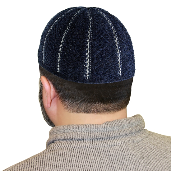 Navy Blue Stretchable One Size Kufi Hat Gray Seams