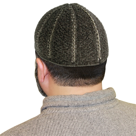 Warm Gray Stretchable Kufi Hat White Seams