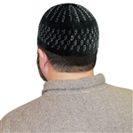 Black Stretchable One Size Muslim Prayer Kufi with White Stitching Designs