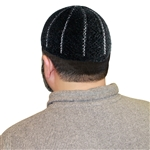 Black Stretchable One Size Muslim Prayer Kufi with White Vertical Stripe