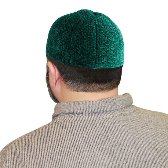 Plain Deep Green Stretchable Muslim Prayer Kufi Hat