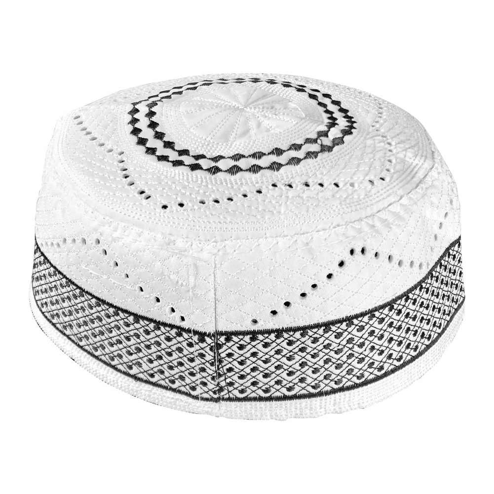 6b11ba4d892e5 Diamond Border Embroidered White Minimalist Design Muslim Hard Kufi ...