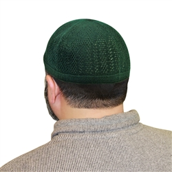 Green One Size Fits Most Knit Cotton Skull Cap Kufi Prayer Hat
