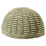 Fancy Soft Wool One Size Brown and Tan Kufi Skull Cap Beanie with Horizontal Stripes