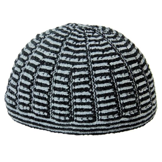 Fancy Soft Wool One Size Black and Gray Kufi Hat Skull Cap with Horizontal Stripes