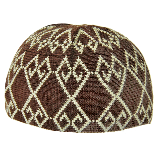 Fancy Soft Wool One Size Burgundy and Tan Kufi Hat Skull Cap Warm Beanie