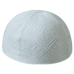 Extra Large White Kufi One Size Fits All Turkish Skull Cap with Diamond Pattern