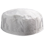 Mens Wave Design Kufi Hat White Embroidered Cap Middle East Headwear