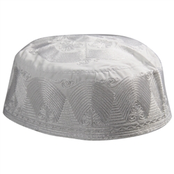 Mens Palm Design Kufi Hat White Embroidered Cap Middle East Headwear