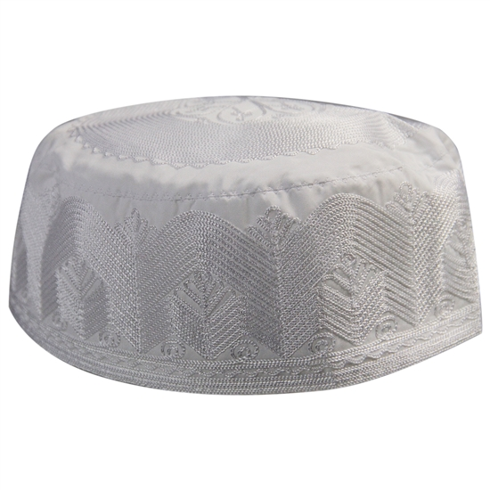 Mens Lotus Design Kufi Hat White Embroidered Cap Middle East Headwear