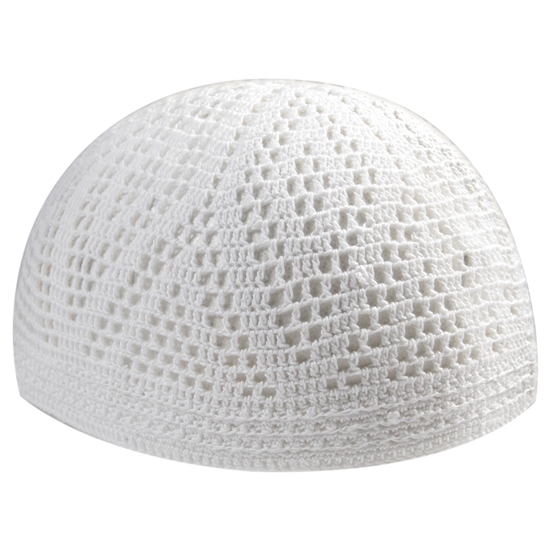 Extra Stretchable Large White Kufi One Size Diamond Knit Skull Cap Beanie