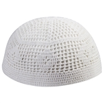 Extra Stretchable Large White Kufi One Size Square Knit Skull Cap Beanie