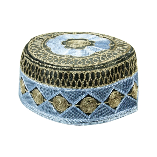 Blue and Brown Men's Hard Embroidered Kufi Skull Cap