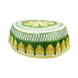 Green and Gold Men's Hard Embroidered Kufi Skull Cap Topi with Diamond Border-23.5