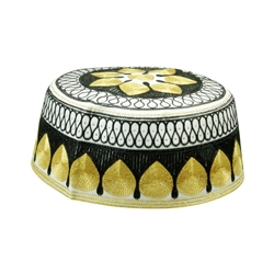 Black and Gold Men's Hard Embroidered Kufi Skull Cap Topi with Diamond Border-23
