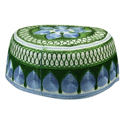 Blue and Green Men's Hard Embroidered Kufi Skull Cap Topi with Diamond Border