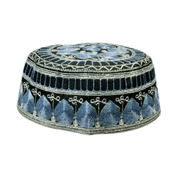 Blue and Silver Men's Hard Embroidered Kufi Skull Cap Topi with Diamond Border-23