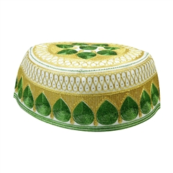 Green and Gold Men's Hard Embroidered Kufi Skull Cap Topi with Arch Border-22.5
