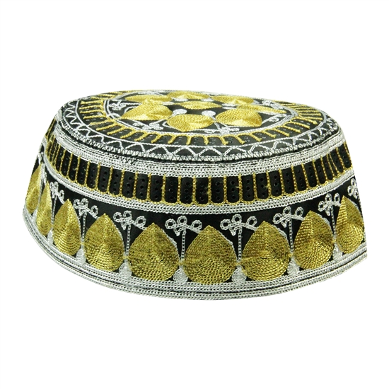 Black and Gold Men's Hard Embroidered Kufi Skull Cap Topi with Arch Border-22.5