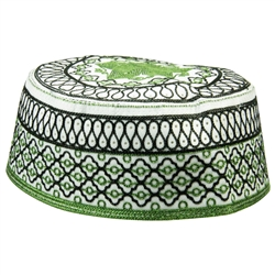 Black and Green Men's Hard Embroidered Kufi Skull Cap Topi with Lotus Border