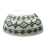 Cool Gray Stretchable Knit Kufi Beanie Skull Cap Topi with Diamond Designs