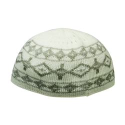 Warm Gray Stretchable Knit Kufi Beanie Skull Cap Topi with Diamond Designs