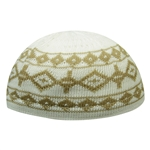 Warm Gray Stretchable Knit Kufi Beanie Skull Cap Topi with Diamond Designs-21.5
