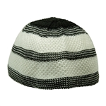 Black and White Stretchable Knit Kufi Beanie Skull Cap Topi Stripe Design-23
