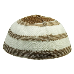 Brown and White Stretchable Knit Kufi Beanie Skull Cap Topi Stripe Design-21.5