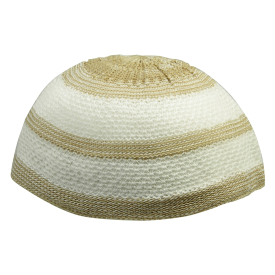 Tan and White Stretchable Knit Kufi Beanie Skull Cap Topi Stripe Design-21.5