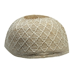 Brown Soft Stretchable Knit Kufi Beanie Skull Cap Topi Diamond Mesh Design-21.5