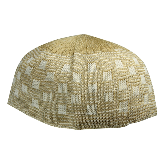 Tan One Size Soft Stretchable Knit Kufi Beanie Skull Cap Topi Checker Design-23