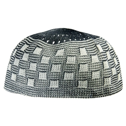 Navy One Size Blue Soft Stretchable Knit Kufi Beanie Skull Cap Checker Topi-22.5
