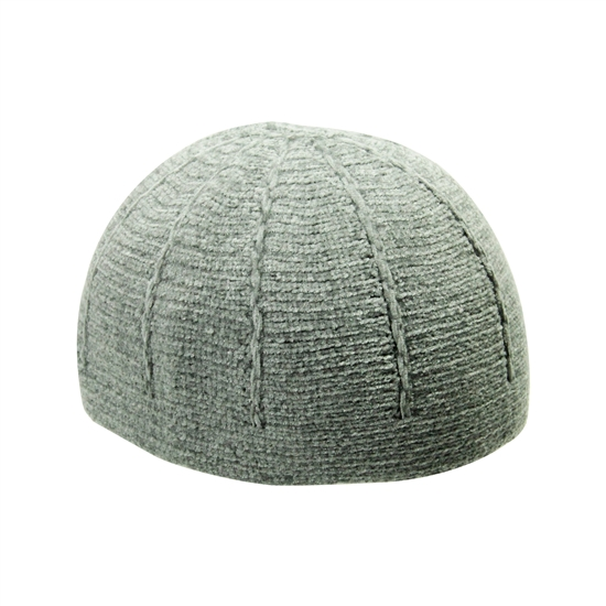 Light Gray Wool One Size Fits All Winter Kufi Skull Cap Hat