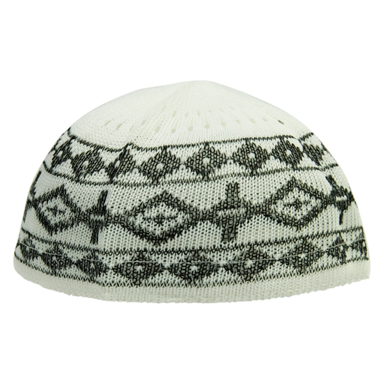 Dark Gray Stretchable Knit Kufi Beanie Skull Cap Topi with Diamond Designs