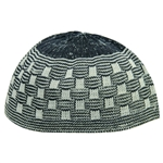 Navy Blue Soft Stretchable Knit Kufi Beanie Skull Cap Topi Checker Design