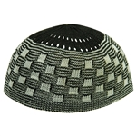Black Soft Stretchable Knit Kufi Beanie Skull Cap Topi Checker Design